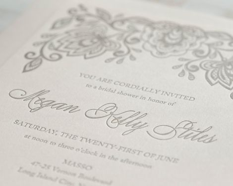 Our blush floral letterpress bridal shower invitation features our blush floral letterpress bridal shower invitation features pewter ink printed onto our house filmwisefo
