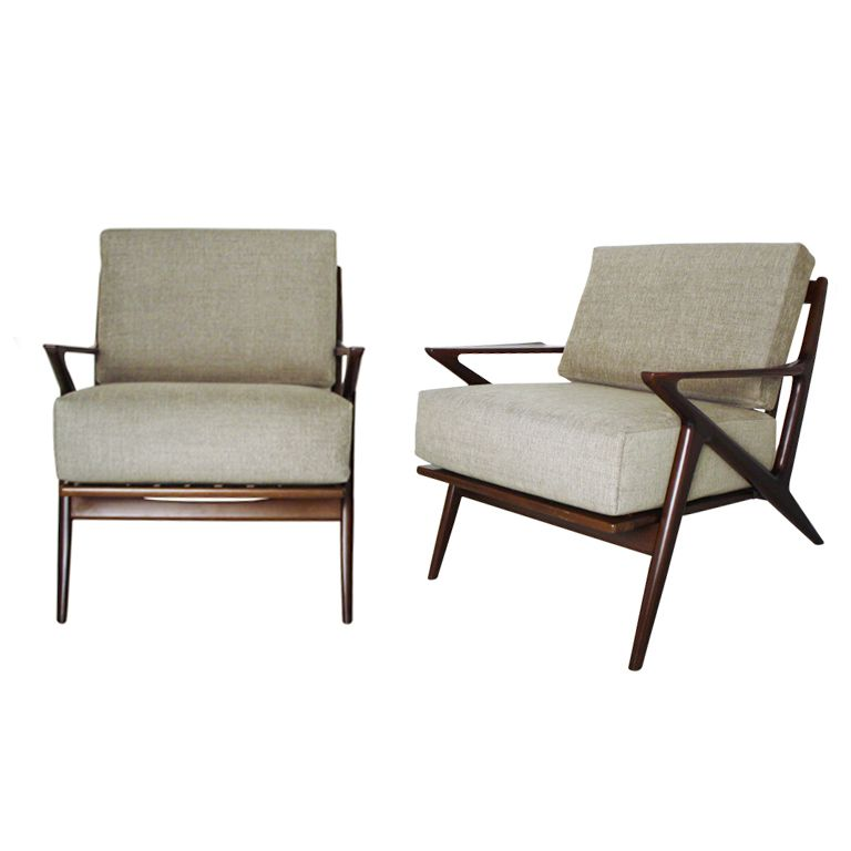 Pair of poul jensen z chairs by selig danish modern and mid century modern - Selig z chair for sale ...
