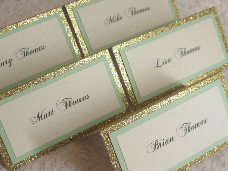 Gold Glitter u0026 Mint Tented Place Cards Escort cards Name Cards - #108 & Gold Glitter u0026 Mint Tented Place Cards Escort cards Name Cards ...