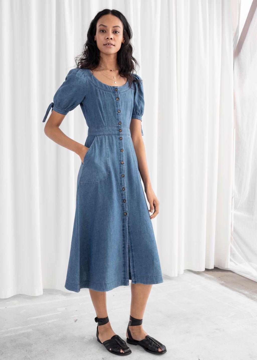 Linen blend denim midi dress mid blue midi dresses