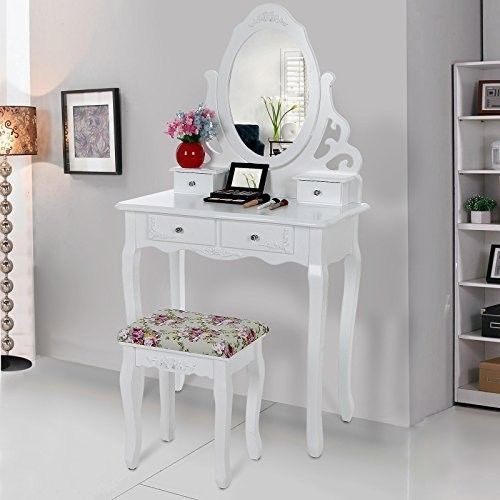 White Dressing Table Set Bedroom Mirror Padet Stool Jewelry Desk