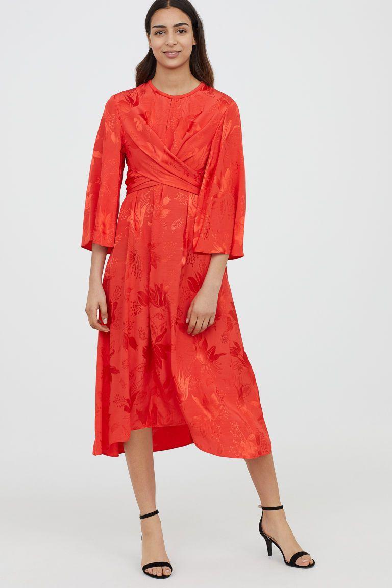 90023c4d0add33 Jacquardgeweven jurk - Rood - DAMES