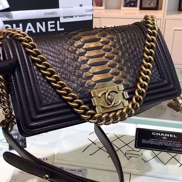 736228df2a3c Chanel snake skin gold black Le boy bag Brand new top quality leather 1