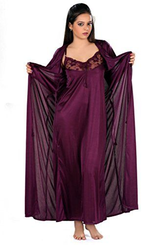 f7414c9ad4 Yogalz Women Satin Dark Purple Nighty with Robe Nightwear Set Robe Gown