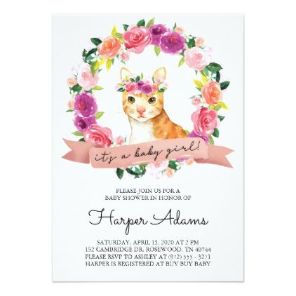 Floral cat theme baby girl baby shower invitation floral cat theme baby girl baby shower invitation purple floral style gifts flower flowers diy negle Choice Image