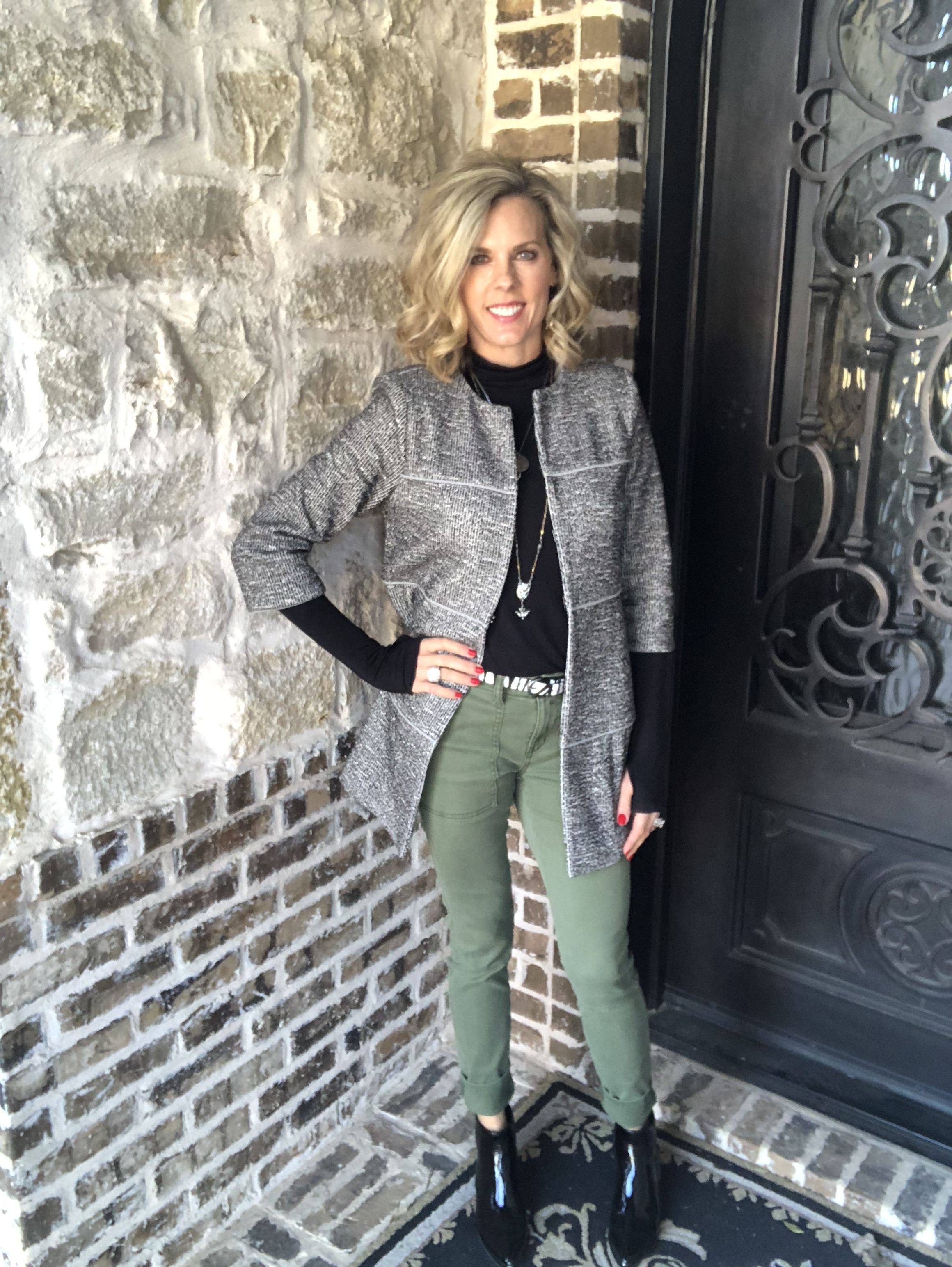 2e5398beab13 The Times Jacket and The Quest pant. Cabi spring 18. Vintage layering  turtleneck under the jacket.