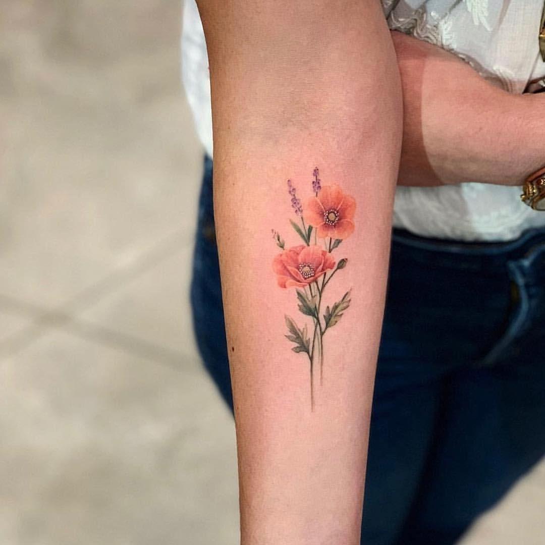 Drag Ink Dragonart Nyc Mohnblumen Tattoo Kleine Blume Tatowierungen Minimalistische Tatowierungen