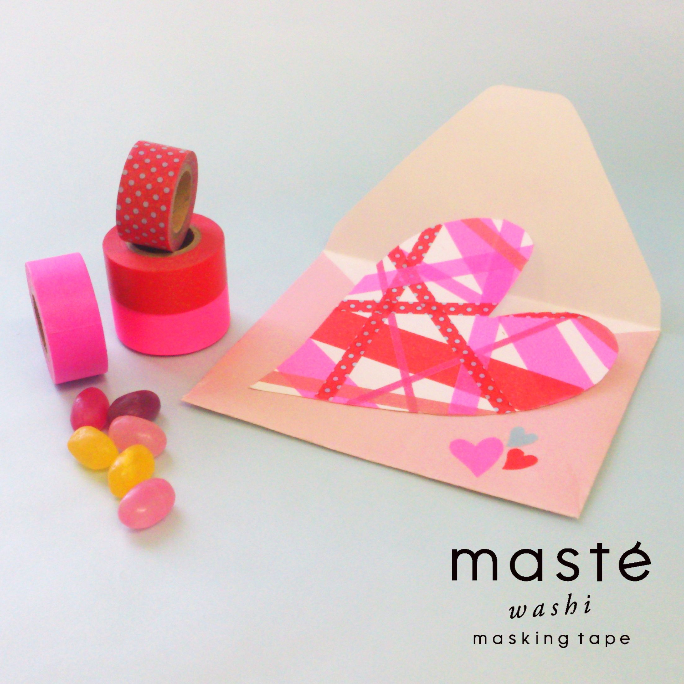 Make a easy heart gripping Valentine card with masking tapes! masté is a colorful and vivid, creative masking tape brand by MARK'S Tokyo Edge