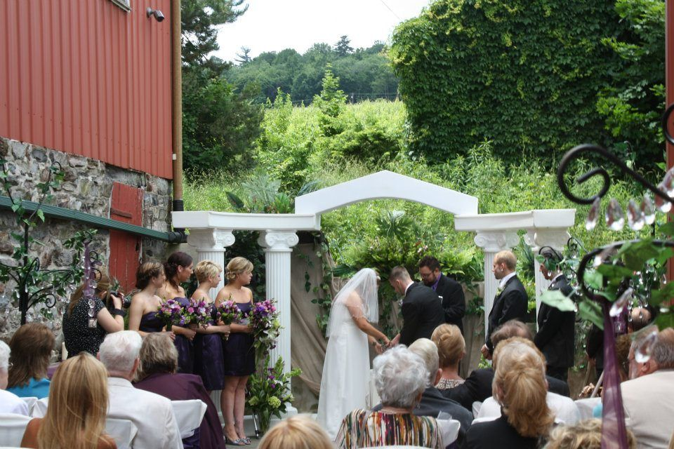 A wedding on the patio of Adams County Winery, just