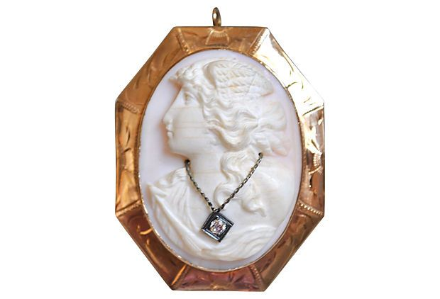14K Cameo Pendant Brooch w/ Diamond on OneKingsLane.com