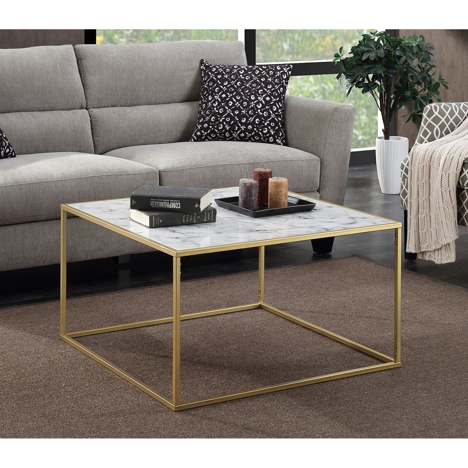 Convenience Concepts Gold Coast Faux Marble Coffee Table White