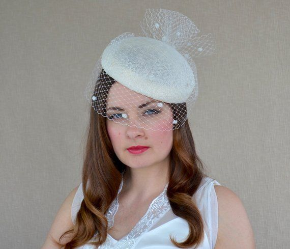 b4b3d61f7859d Ivory Pillbox Hat with Birdcage Veil - Cream Fascinator - Ivory Cocktail Hat  - Christening Hat - Mot