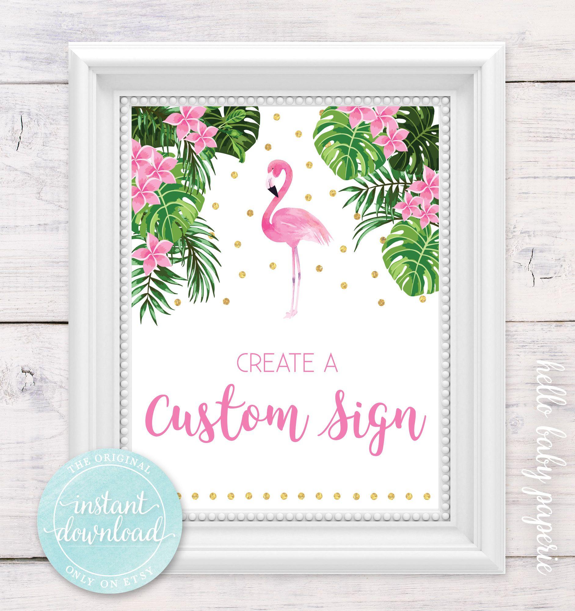 Baby shower custom sign create a sign flamingo baby