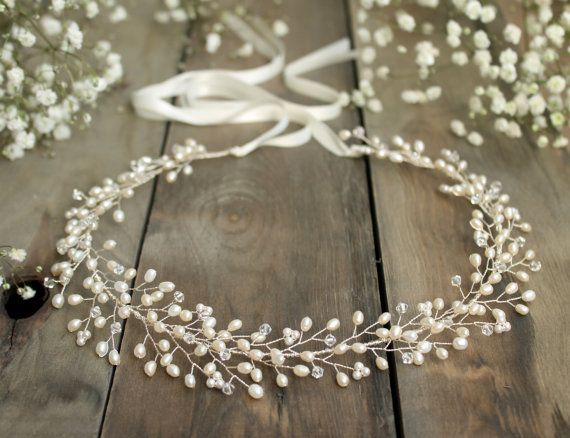 Gypsophilia halo, bridal crown, forehead wedding headdress, boho wedding, freshwater pearl, Swarovski crystal wedding bride headpiece, vine