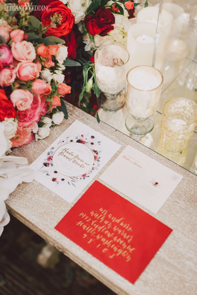 Romantic Valentine\'s Wedding Inspiration For 2017 | Red wedding ...
