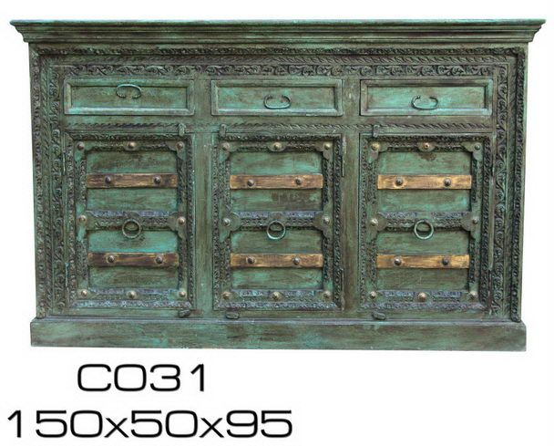 indisches Highboard in grün-blau - Vintage Möbel bei Möbelhaus ...
