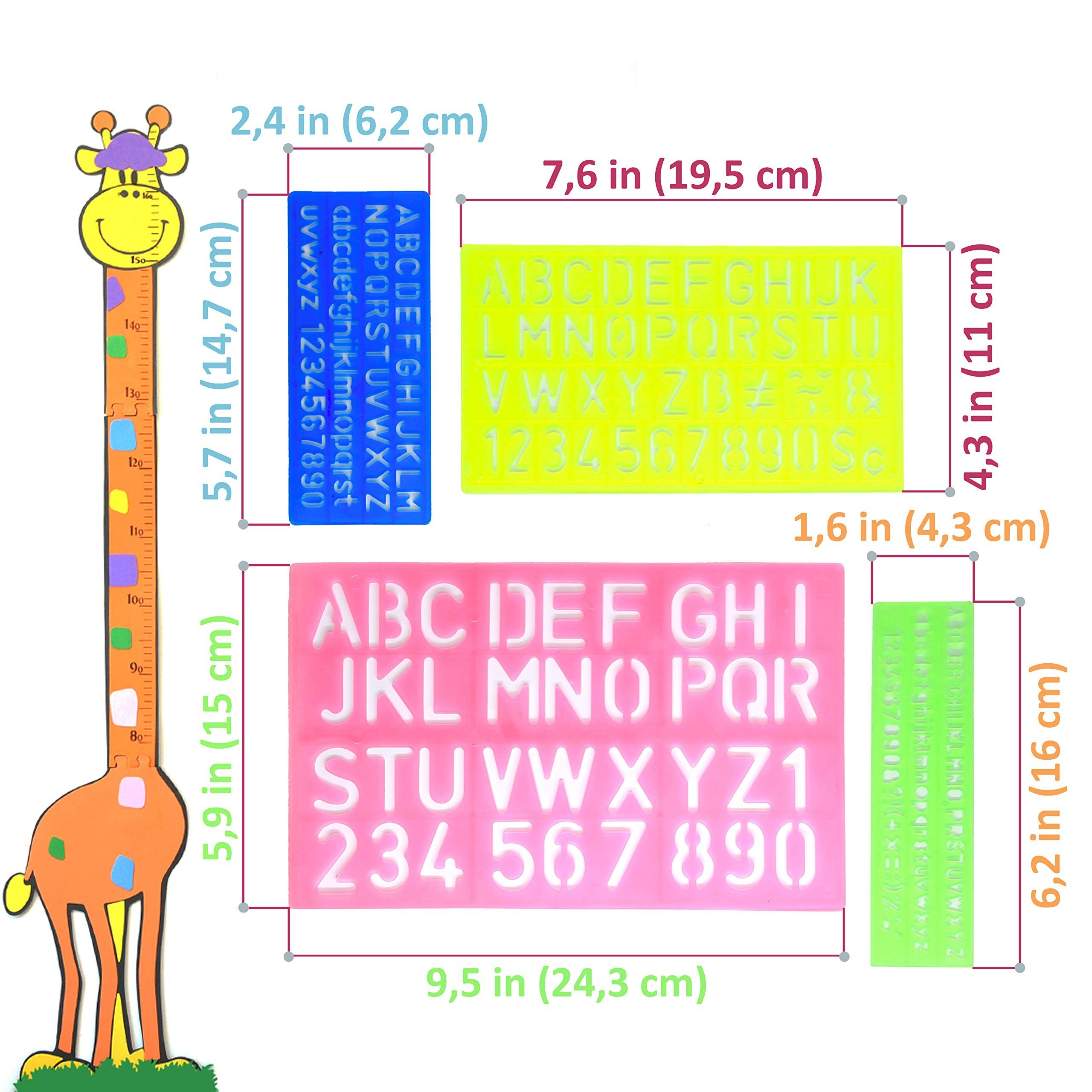 Set of 4 Stencil Templates with Letters and Numbers