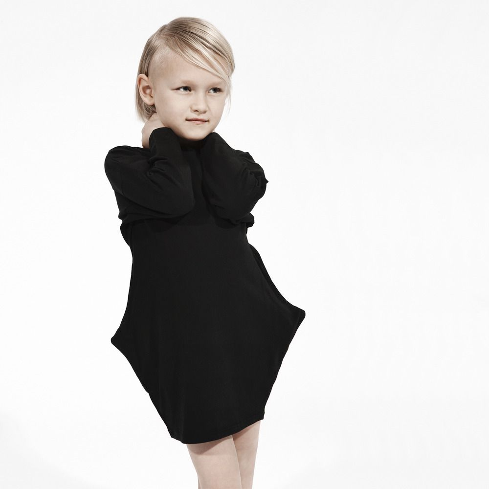 Girl S Long Sleeve Bat Dress Soft Jersey Organic Cotton Black