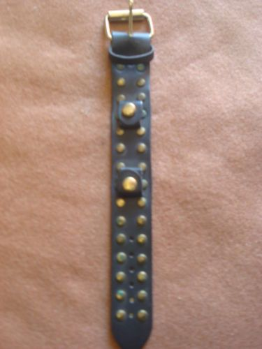 VTG USA BLACK LEATHER WIDE WATCH BELT T STUD STRAP CUFF ROCK PUNK STEAMPUNK BAND