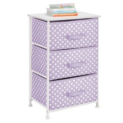 Turquoise Blue//White Polka Dots Wood Top and Easy Pull Fabric Bins Multi-Bin Organizer Unit for Child//Kids Bedroom or Nursery mDesign 4-Drawer Vertical Dresser Storage Tower Sturdy Steel Frame