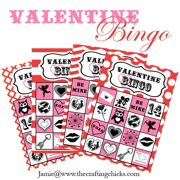 Valentine Bingo Free Printable from www.thecraftingchicks.com // family night or class party - use conversation hearts or heart candy as playing pieces