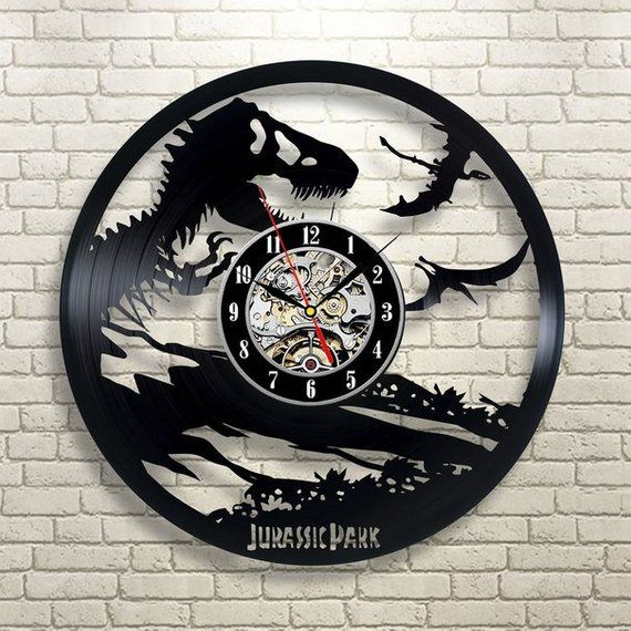 Jurassic Park Modern Wall Clock Jurassic World Wall Clock Vinyl Jurassic Park Art Vinyl Record Art Dinosaur Decor Boys Room Decor #jurassicparkworld