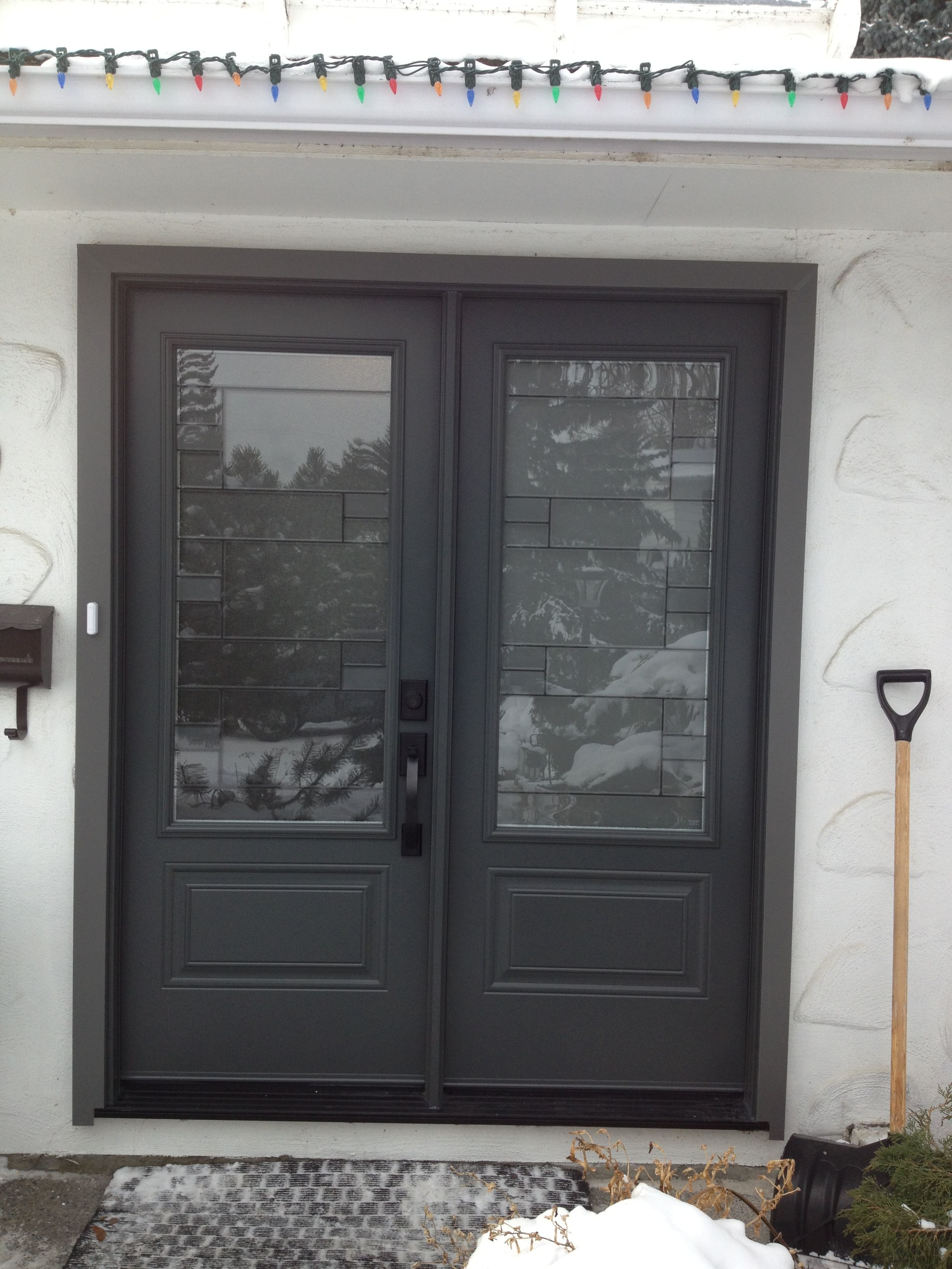Mondrian glass insert by masonite graphite coloured for Masonite exterior doors