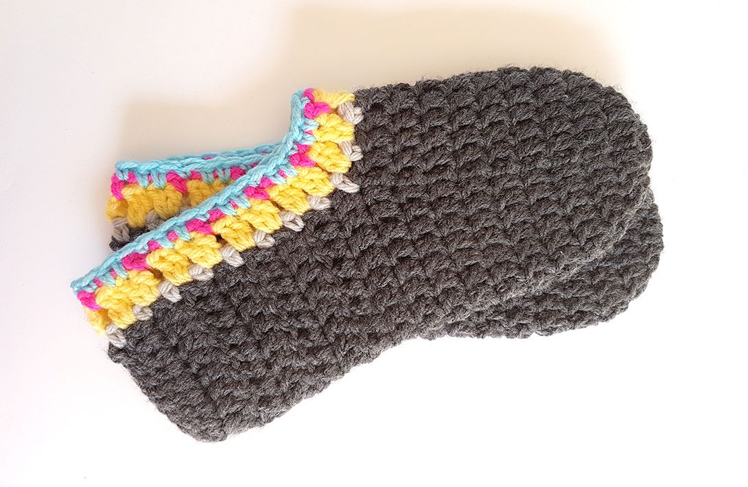PROJECT #018: CROCHET SLIPPERS FOR ADULTS   Escarpines