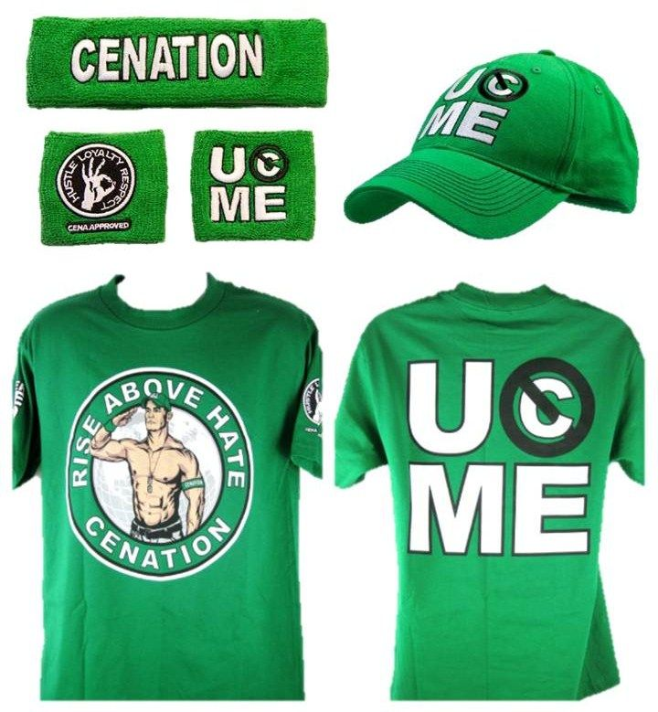 online store 098a5 55ef4 John Cena Green Cenation Kids Costume T Shirt Baseball Hat Headband  Wristbands