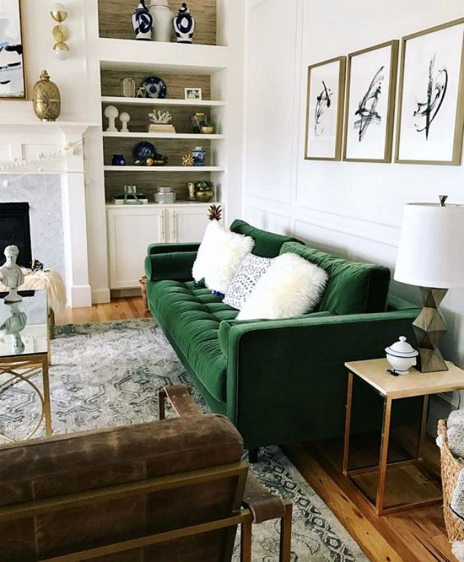 Styling Secrets For A Modern Glam Look With Two Sofas Suburban B S Green Sofa Living Room Green Couch Living Room Green Sofa Living
