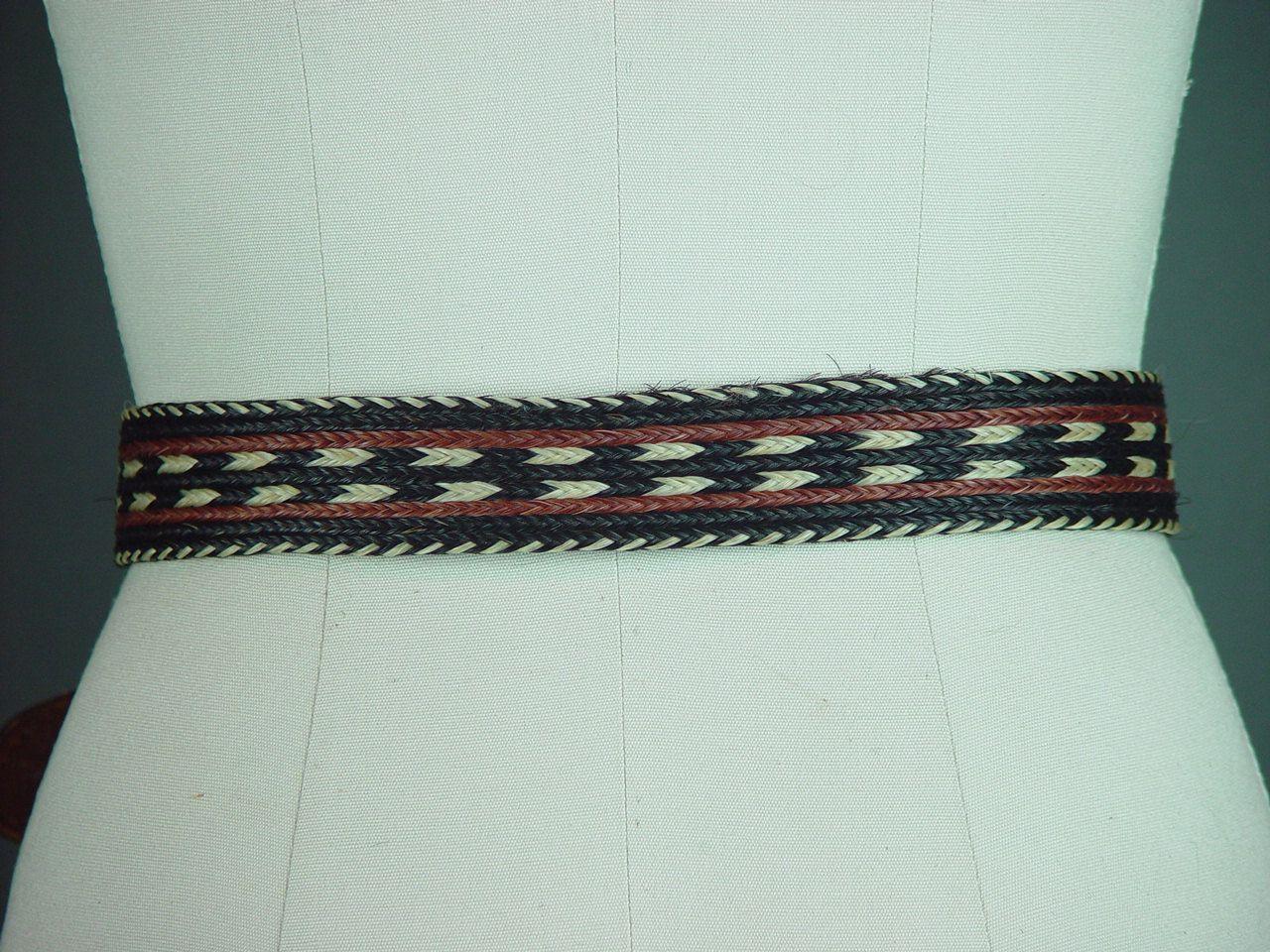 Vintage Horse Hair Belt Western Leather Black Brown Ivory