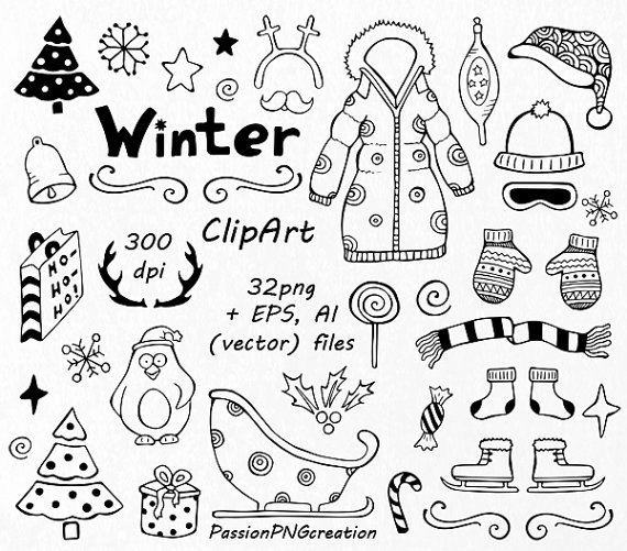 winter doodle clipart hand drawn christmas clip art. Black Bedroom Furniture Sets. Home Design Ideas