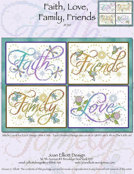 Joan Elliott Faith, Love, Family, Friends - Cross Stitch