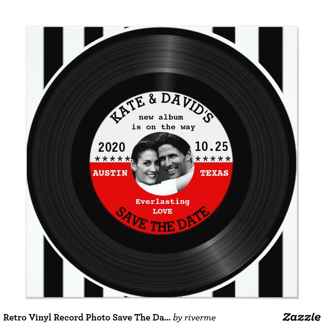 Retro Vinyl Record Photo Save The Date Template Zazzle Com Save The Date Templates Vinyl Records Save The Date