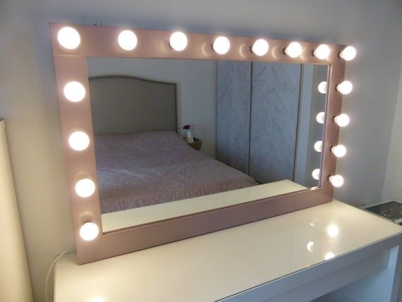 Best Xl Hollywood Mirror 43 X 27 Rose Gold Vanity Mirror 400 x 300