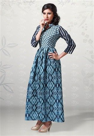 Readymade Blue American Cotton Anarkali Kurti