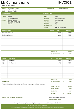 Computer Repaid Invoice For Excel Invoice Template Excel Templates Invoice Template Word