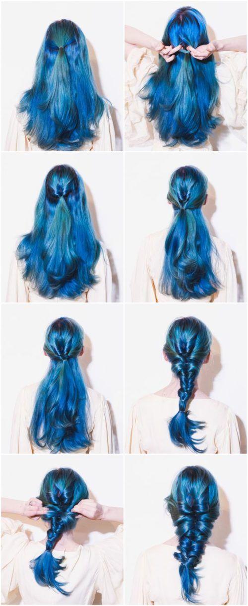 Mermaid Hairstyles Neon Blue Stepstep Mermaid Hairstyles  Braid Hairstyles For