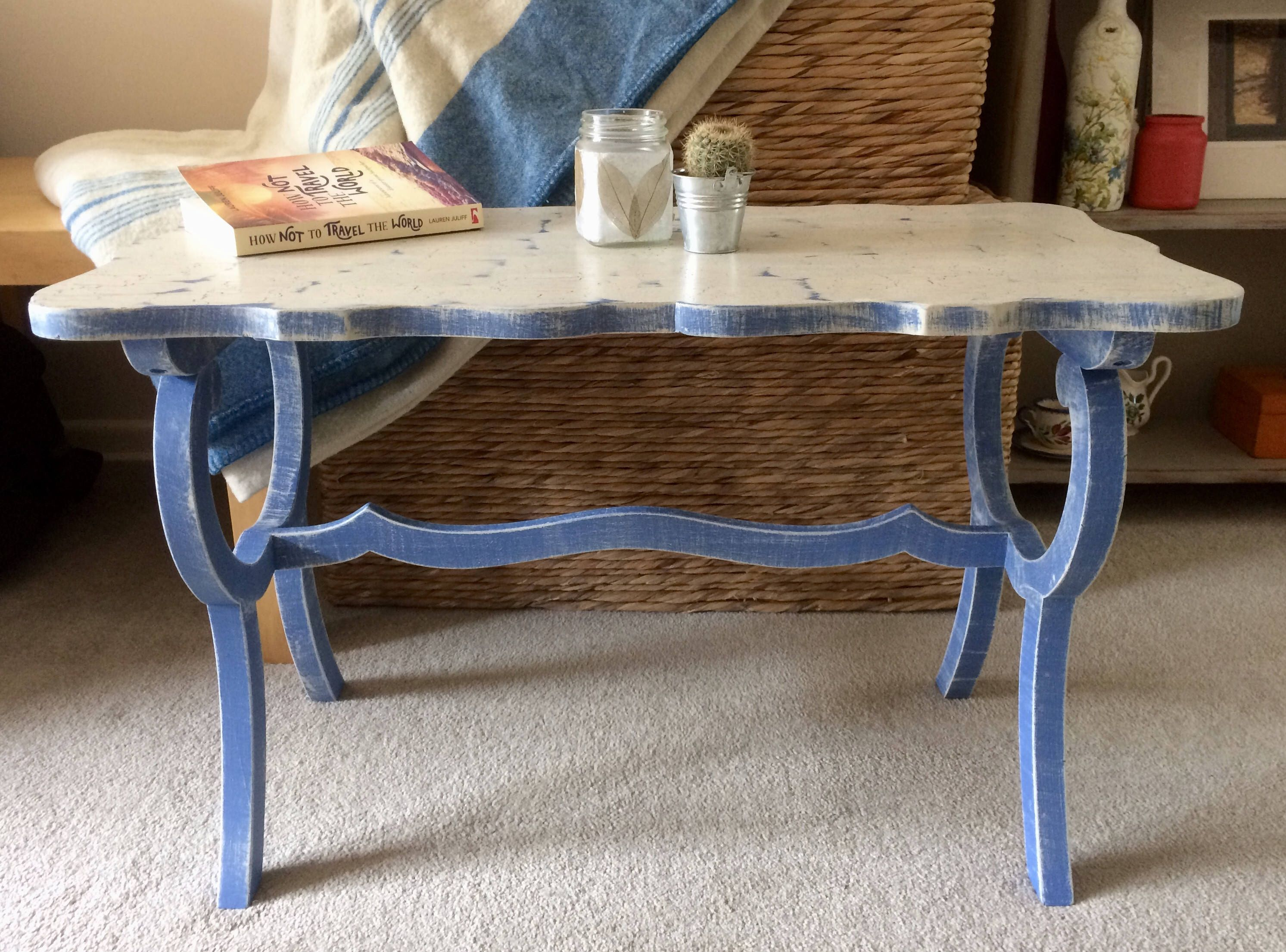 Small Vintage Coffee Side Table Restyled And Hand Painted In A Rustic Blue And White Coastal Style Coffee Table Unique Coffee Table Decor