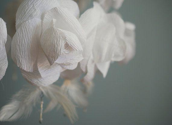 Weiße Rosen Papier Kronleuchter handgemachte Blume Decke | люстры ...