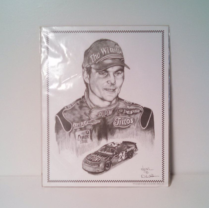 jeff gordon black and white print dale adkins art 11 x 14 nascar sports souvenirs and. Black Bedroom Furniture Sets. Home Design Ideas