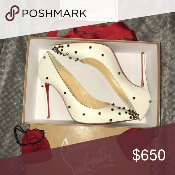 4ceefae038d Christian Louboutin heels w metal studs worn once Off white with ...