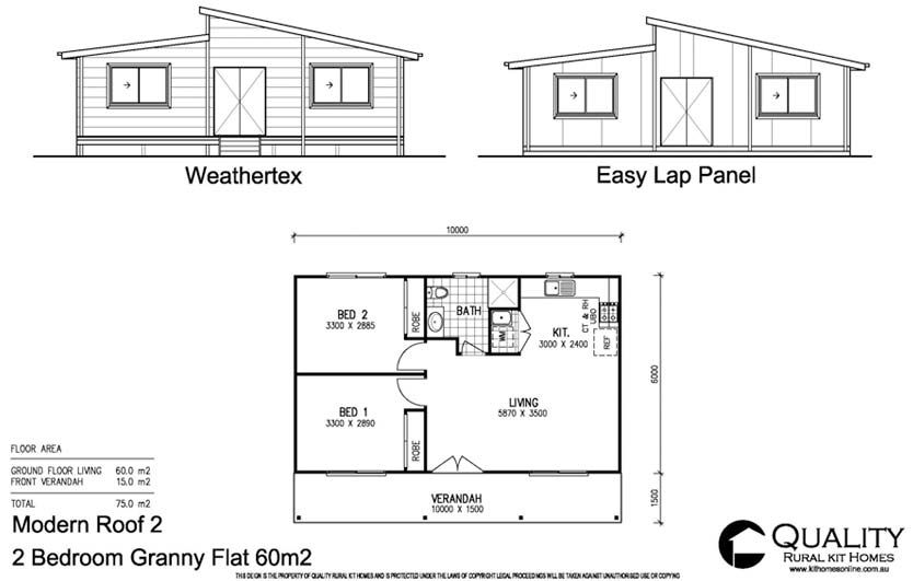 2 flat bedroom house plans full brochure pricing for Granny cottage plans