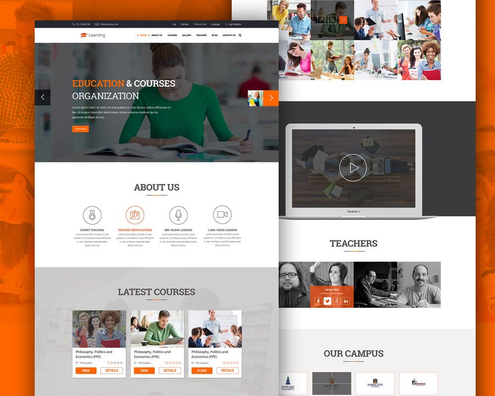 elearning education website free psd template psd web templates