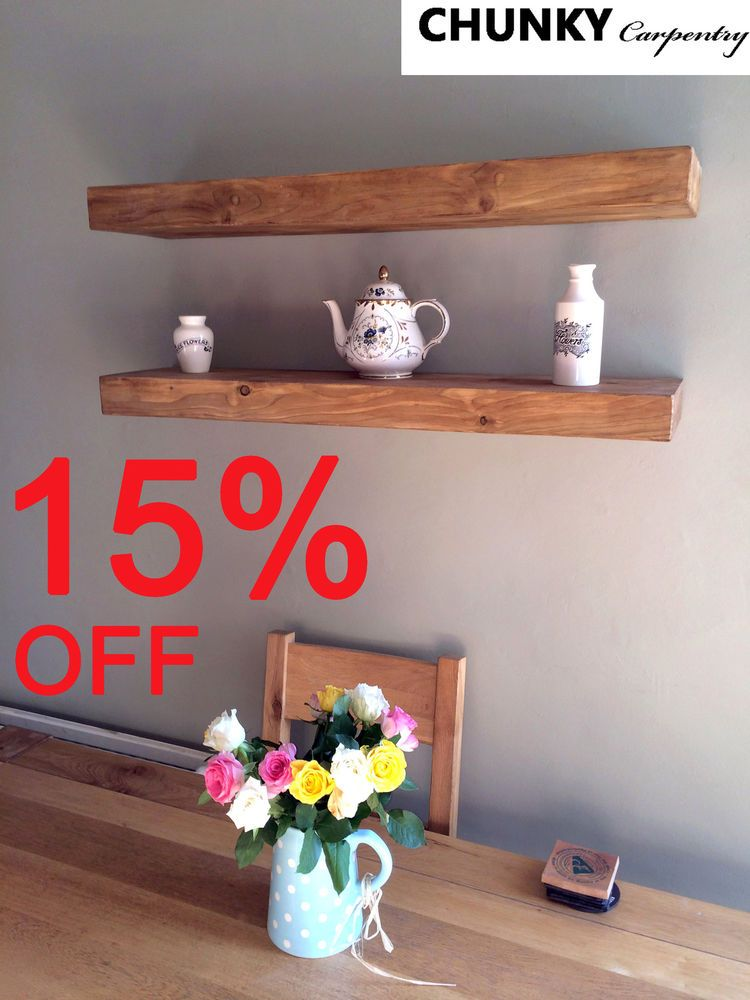 7cm Thickness Chunky Floating Reclaimed Rustic Shelf Shelves Wood Wooden Shop In Home Furniture Diy Furnit Rustic Wall Shelves Floating Shelf Decor Shelves