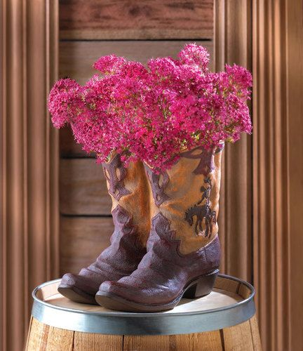 Western Cowboy Boots Planter Vase Centerpiece For Weddings Gift Shower Flowers Ebay