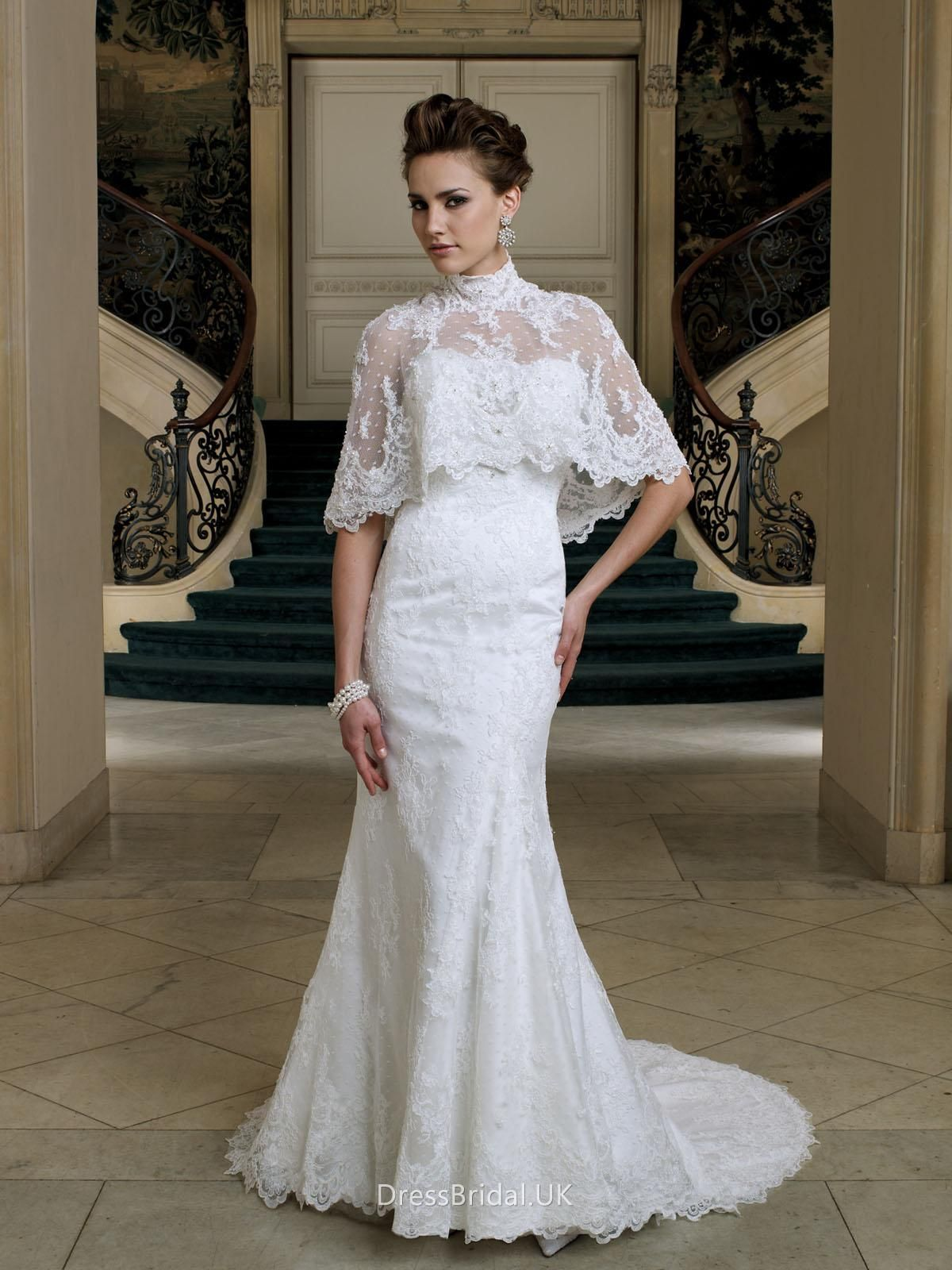 High neck wedding dress lace  Strapless Mermaid Lace Wedding Dress with High Neck Detachable Skirt