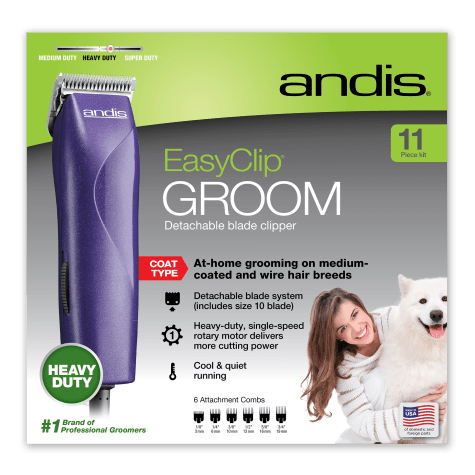 Andis Easy Clip Groom Detachable Blade Clipper Kit Purple Easy