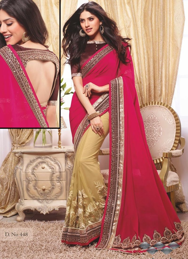 Pink And Gold Party Wear Designer Sarees Collection Available On Http Www Wholesalesalwar Com Sarees Catalog V Saree Designer Sarees Collection Saree Designs