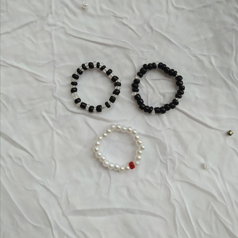 Black and white wire wrapped bead rings dainty